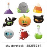 set of glossy halloween icons