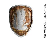 old rusted shield isolated on... | Shutterstock . vector #383561836