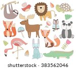 Stock vector cute animal doodles isolated vector set 383562046