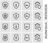 vector line home security icon... | Shutterstock .eps vector #383563036