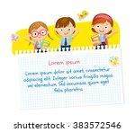 children design with pupils in... | Shutterstock .eps vector #383572546
