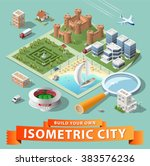 build your own isometric city.... | Shutterstock .eps vector #383576236