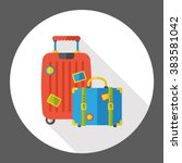 luggage case flat icon  | Shutterstock .eps vector #383581042