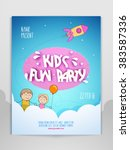 kid's fun party celebration... | Shutterstock .eps vector #383587336