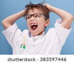 little doctor. cute kid playing ... | Shutterstock . vector #383597446