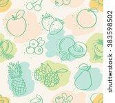 seamless mixed fruits pattern | Shutterstock .eps vector #383598502