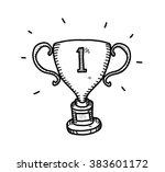 gold trophy doodle  a hand... | Shutterstock .eps vector #383601172