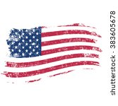 usa flag in grunge style on a... | Shutterstock . vector #383605678
