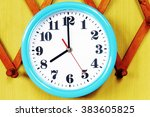 wall clock on the wood... | Shutterstock . vector #383605825