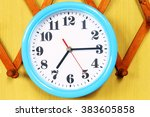 wall clock on the wood... | Shutterstock . vector #383605858