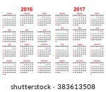 calendar for 2016    2017 years ... | Shutterstock .eps vector #383613508