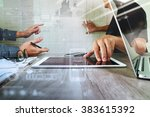 businessman making presentation ... | Shutterstock . vector #383615392