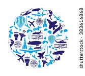 aviation big set of blue icons...   Shutterstock .eps vector #383616868