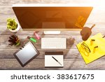 office workplace with tablet... | Shutterstock . vector #383617675