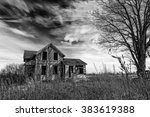 black and white photo of an old ... | Shutterstock . vector #383619388