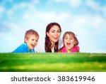 cheerful young mother and her... | Shutterstock . vector #383619946