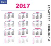 english calendar 2017 ... | Shutterstock .eps vector #383629195