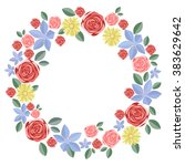 wreath of flowers. red  blue ... | Shutterstock .eps vector #383629642