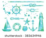 Set Of Nautical Elements. Blue...