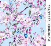 vintage garden watercolor... | Shutterstock . vector #383637532