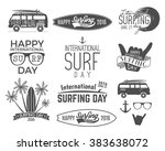 summer surfing day graphic... | Shutterstock .eps vector #383638072