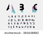 black alphabetic fonts and... | Shutterstock .eps vector #383638882