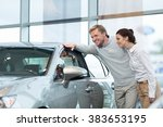 young couple buying cars | Shutterstock . vector #383653195