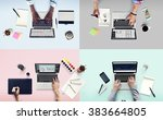 colleagues busy working laptop... | Shutterstock . vector #383664805