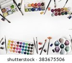 watercolor and brushes at white ... | Shutterstock . vector #383675506