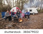 family of five camping in the... | Shutterstock . vector #383679022