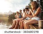 portrait of happy young friends ... | Shutterstock . vector #383680198