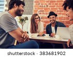 group of young friends hanging...   Shutterstock . vector #383681902