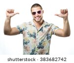 happy young man with sunglasses ... | Shutterstock . vector #383682742