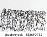 crowd walking in urban scene... | Shutterstock . vector #383690752