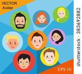 modern avatars flat lines.... | Shutterstock .eps vector #383692882