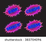 set of neon signs with sound...   Shutterstock .eps vector #383704096