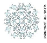 damask vector floral rosette... | Shutterstock .eps vector #383706145