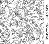 seamless pattern in doodle... | Shutterstock .eps vector #383715346