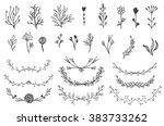 set of vector vintage floral...   Shutterstock .eps vector #383733262