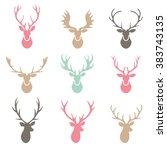 deer horns label set.   Shutterstock .eps vector #383743135