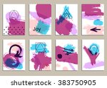 set of universal cards. hand... | Shutterstock .eps vector #383750905