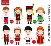 kids in different traditional... | Shutterstock .eps vector #383750938