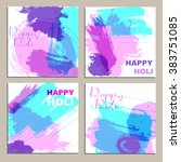 colorful powder paint. holi... | Shutterstock .eps vector #383751085