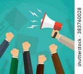 cartoon hands of demonstrants...   Shutterstock .eps vector #383760028