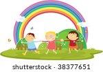 illustration of kids on white | Shutterstock .eps vector #38377651