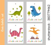 cute labels set with funny... | Shutterstock .eps vector #383779462
