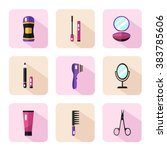 vector flat style icons set of... | Shutterstock .eps vector #383785606