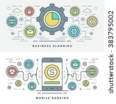 flat line business planning and ... | Shutterstock .eps vector #383795002