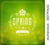 spring vector typographic... | Shutterstock .eps vector #383795632