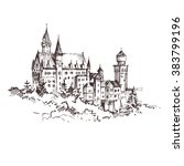 hand drawn famous old castle ... | Shutterstock .eps vector #383799196